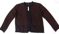 ANN TAYLOR Women Tweed Frayed Blazer Top Cardigan Black Orange Medium Long Sleev