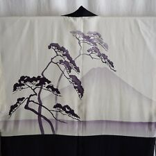 """Purple Fuji"" Vintage Japanese Man's Silk Haori Jacket Short Kimono"