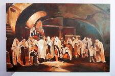 JUDAICA Original Wall Oil Painting on Canvas of Jewish Rabbis 35.4 x 23.6""