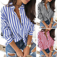 ZANZEA Women Long Sleeve Collared Button Down Stripe Shirt Tops Blouse Plus Size