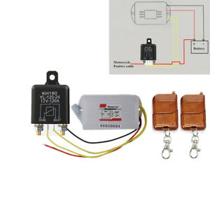 12V Motorcycle Scooter Battery Disconnect Relay Master Kill Switch w/ 2x Remote