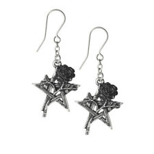 Ladies Earrings Gothic Style With Black Rose and Pentagram Symbol Silver Pewter