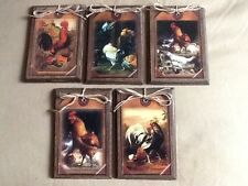 5 HANDCRAFTED Wooden Rooster Ornaments/PRIM HangTags/GiftTags/BowlFillers SetKV