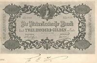 1902 VINTAGE NETHERLANDS 200 GULDEN BANKNOTE POSTCARD USED 1c Early Issue Stamp