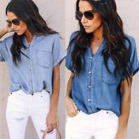 2018 Women Summer Loose Short Sleeve Denim Shirt Ladies OL Tops Blouse T-shirt