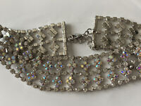 Vintage Costume Jewellery Aurora Borealis Crystal Silver Tone Chocker