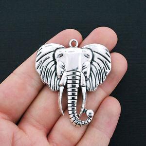 Large Elephant Charm Antique Silver Tone - SC4326