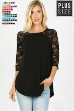 Women Plus Size Lace Half Sleeve Round Neck Top Shirt LT6332XP