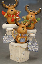 Ceramic Bisque Ready to Paint Three Reindeer on a Snow Stump with signs