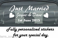 Just Married Wedding Day Car Window Banner Sticker Personalised Sign