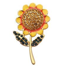 Fashion Crystal Sunflower Brooch Pin Collar Badge Corsage Jewelry Accessories SJ