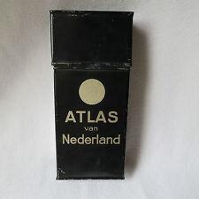 alte Strassenkartendose Blechdose Atlas van Nederland seltene Karten-Dose leer