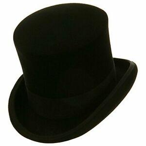 Black Mad Hatter Top Hat 100% Wool Victorian