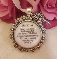 BRIDAL BOUQUET CHARM PERSONALISED OLD THANK YOU Bridesmaid Flower Girl VINTAGE.