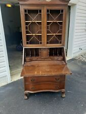 Vintage Skandia Furniture Co. Secretary Desk Serpentine Front Bookcase