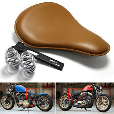"""3"""" Aged Brown Leather Motorcycle Spring Solo Seat For Harley Bobber Chopper BIG1"""