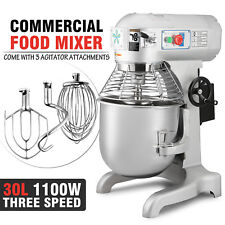 30L Commercial Food Mixer Planetary Mixer Dough Mixer 3 attachments 1100W