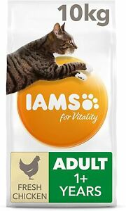 IAMS for Vitality Adult Dry Cat Food with Fresh Chicken, 10 kg