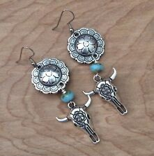 Concho Cow Skull Western Earrings