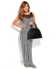 """CHANDRA"" BEAUTIFUL LADIES SIZE 10 BLACK & WHITE STRIPE CHIFFON SHIFT MAXI DRESS"