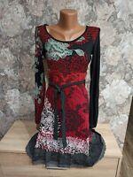 Desigual women's dress size S black &red  multi color