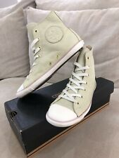 Converse All Star Leather US 5.5 Womens Beige Chuck Taylor Shoes High Top [C132]