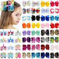Kids Girls JoJo Hair Bow Clips Pins Cartoon Unicorn Bowknot Alligator Xmas Gifts