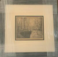 LEON DOLICE - NY HARBOR CUSTOM FRAMED AND MATTED - ORIGINAL ETCHING FROM 1920'S