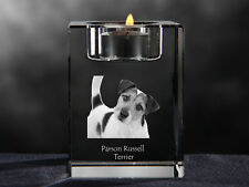 Parson Russell Terrier, crystal candlestick with dog,souvenir,Crystal Animals Ca