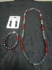 Red and Green Dyed Nut Beaded Trio