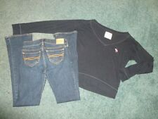 Girls Outfit Abercrombie Kids Barely Boot Jeans Size 10 & Navy Blue Tshirt M