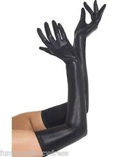 Miss Whiplash Dominatrix Sexy Vamp Wet Look Long Leather Gloves PVC Fancy Dress