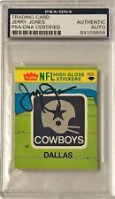 1981 Fleer Jerry Jones Dallas Cowboys Firmado Auto Pegatina Tarjetas PSA/DNA o A