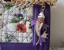Purple Floral Cadena Hombro Bolso de mano con diamantes de imitación de peces que empareja KEYRING.