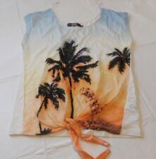 Karma Blue Sleeveless shirt t shirt tie bottom Womens Size L Palm Trees NWOT