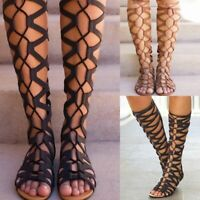Women's Knee High Gladiator Summer Sandals Cut Out Lace Tie Up Ladies Flat Shoes