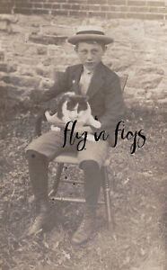 YOUNG BOY in STRAW BOATER HAT w CAT real photo postcard RPPC c1915