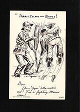 WWII Patriotic Dugmore Art USMC Marine Corp Boots Anti Japan Phrase Postcard 7u
