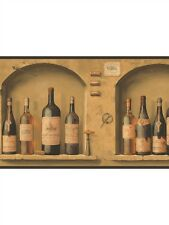 The Wine is Fine Bottle Alcove on York Sure Strip Wallpaper Border NV9652B