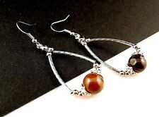 1 Natural Pair of Tigers Eye Gemstone Tear Drop Dangle Earrings - #B320