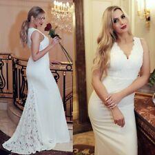 Ladies Wedding Sleeveless Dress V-neck Lace Applique Bridal Gown Mermaid Dresses