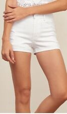 Abercrombie & Fitch Women High Rise Denim Disstress Shorts White 2 Inch Size :14