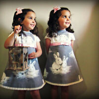 Kids Toddler Baby Girl Short Sleeve Lace Easter Day Rabbit Print Dress Clothes A
