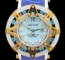 New Xoskeleton Superlative Star Swiss Quartz Blue MOP Dial Leather 41mm Watch