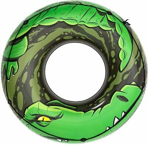 "Bestway H2OGO River Gator Inflatable Swim Ring Tube Water Float 47"" Diameter"