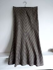 Ladies Lovely M&S Taupe & Silver Thread Mix Full Length Stripe Skirt Size 12,Vgc