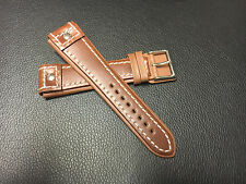 Brown 22mm Pilot style leahter watch strap