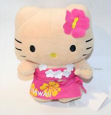 NEW Hello Kitty HAWAII Girl Plush DOLL Pink Sarong & Flower in hair Toy San Rio