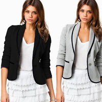Women's Crop Short Jacket Tops Coat Slim Fit Casual Long Sleeve Button Blazer
