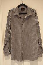 BEN SHERMAN Black & White Check Cotton Blend Shirt Sze 2XL / XXL EXCELLENT COND